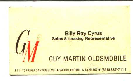 Billy Ray's card